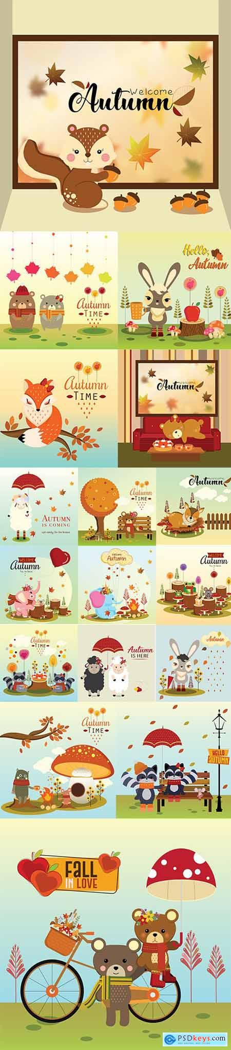 Hello Autumn Vector Illustrations 3