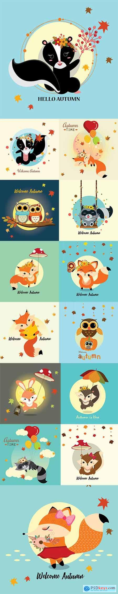 Hello Autumn Vector Illustrations 2