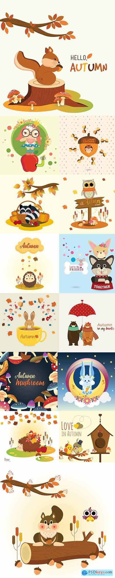 Hello Autumn Vector Illustrations