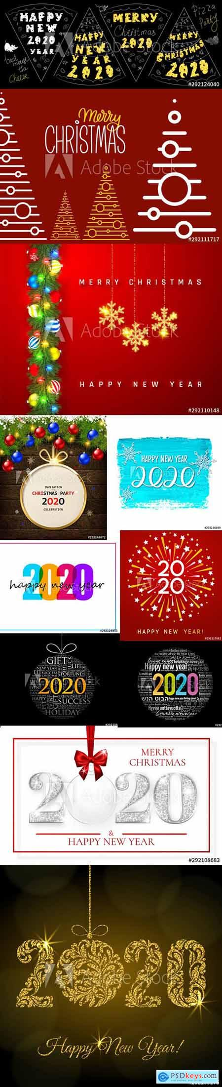 Merry Christmas and Happy New Year 2020 Illustrations Vector Set 6