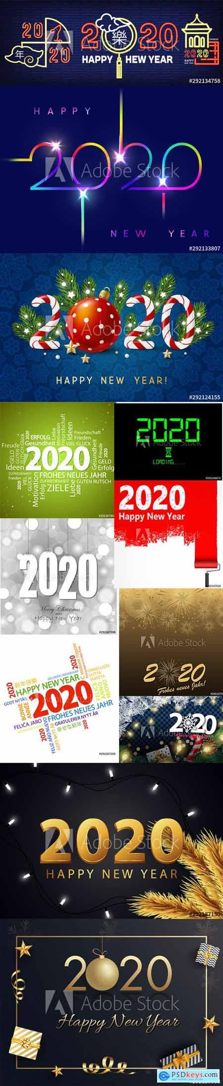 Merry Christmas and Happy New Year 2020 Illustrations Vector Set 5