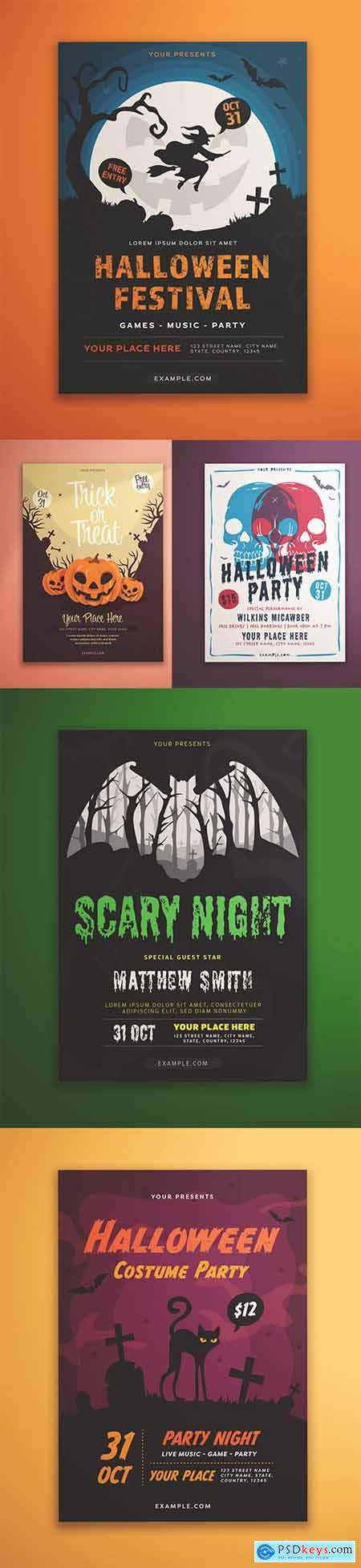 Set of 5 Halloween Flyer Layout with Illustrative Elements