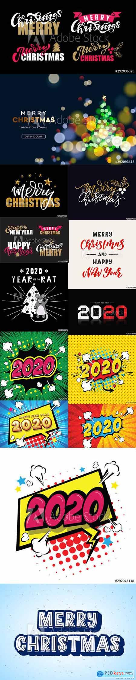 Merry Christmas and Happy New Year 2020 Illustrations Vector Set 7