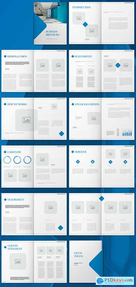 Blue Brochure Layout with Graphic Diamond Acc 270677692