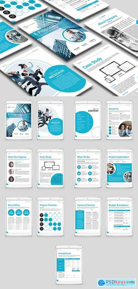 Digital Proposal Layout with Blue Accents 271994991