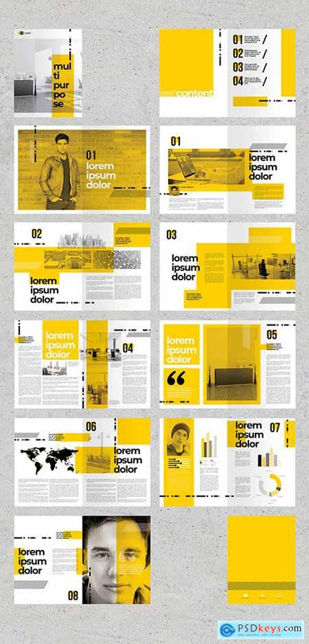 Brochure Layout with Yellow Accents 275348377