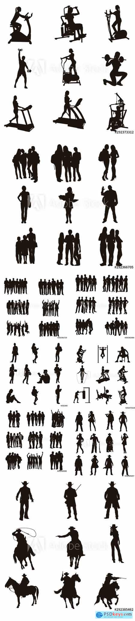 Vector set - Workout, Student, People and Cowboy Silhouette