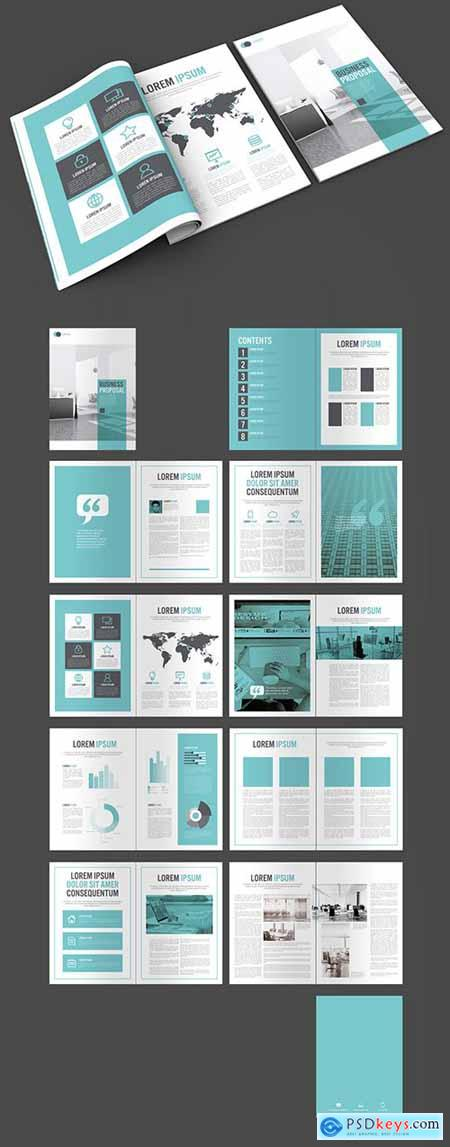 Business Proposal Layout with Blue and Grey Accents 274931724