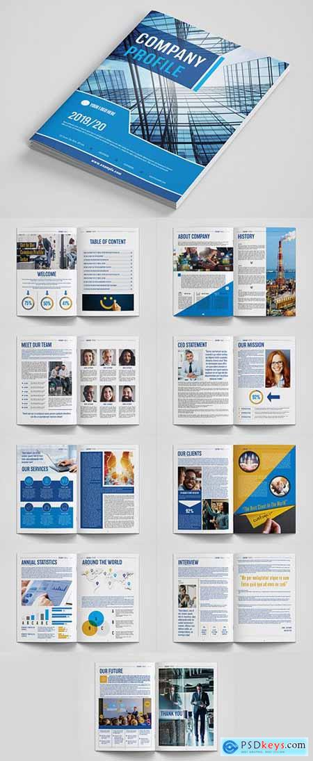 Company Profile Layout with Blue and Orange Accents 281116588