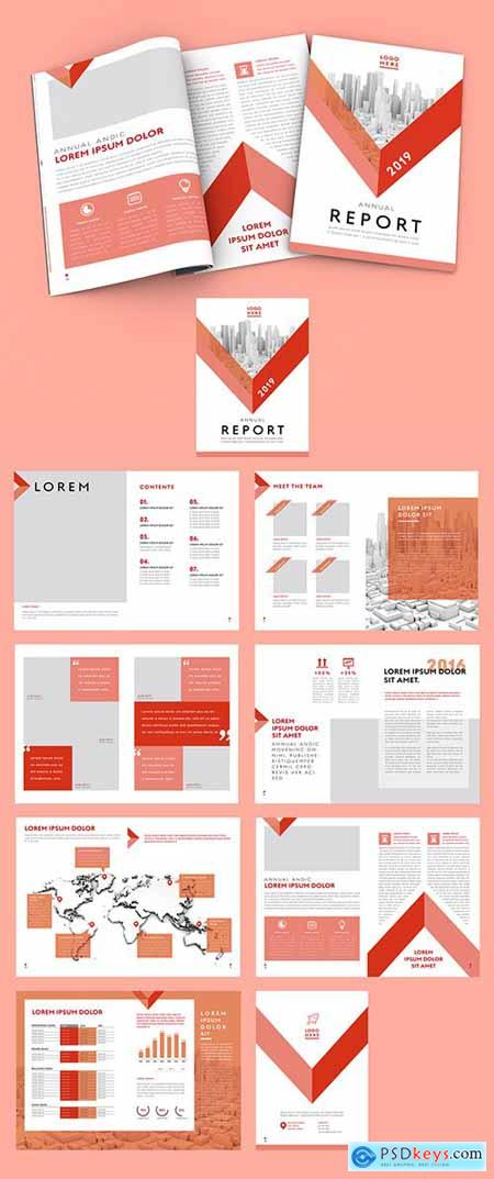 Annual Report Layout with Red Accents 277762381