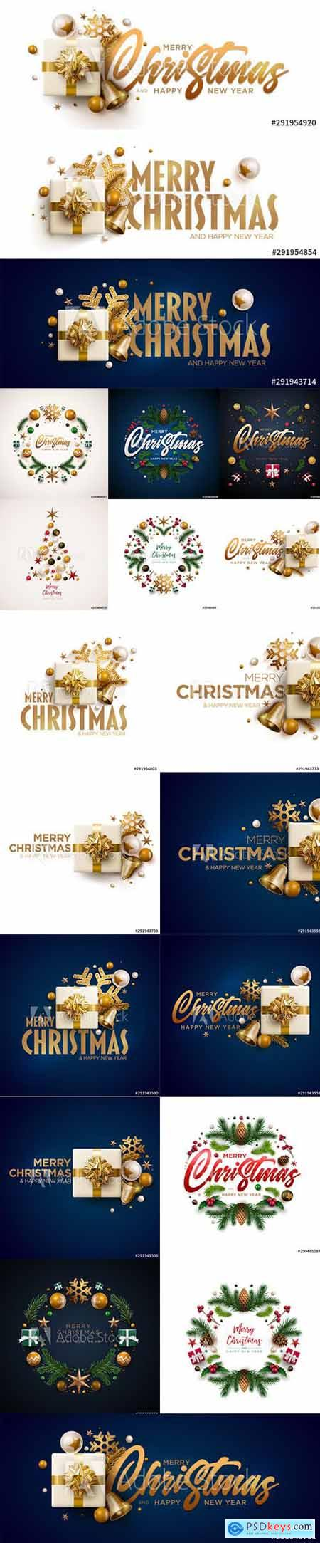 Merry Christmas and Happy New Year 2020 Illustrations Set 8