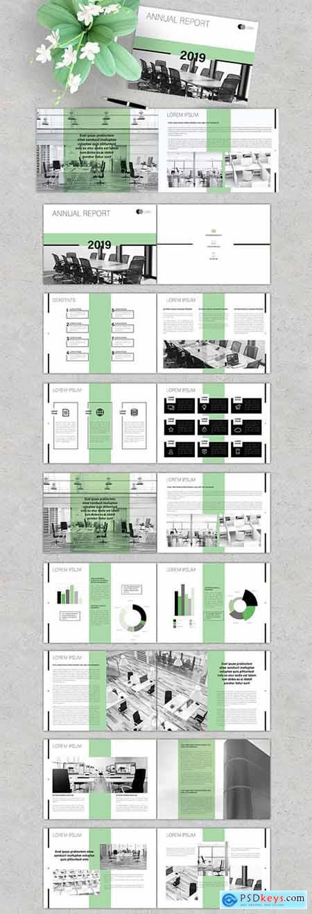 Annual Report Brochure Layout with Green Accents 279205419