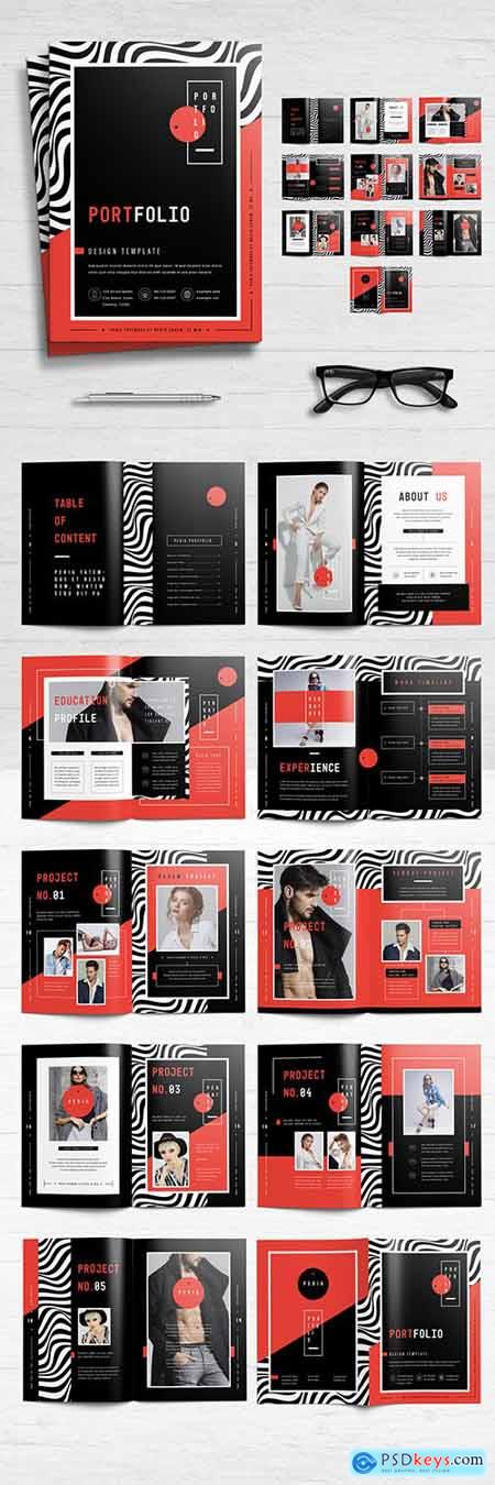 Portfolio Layout with Red and Black Accents 278814167