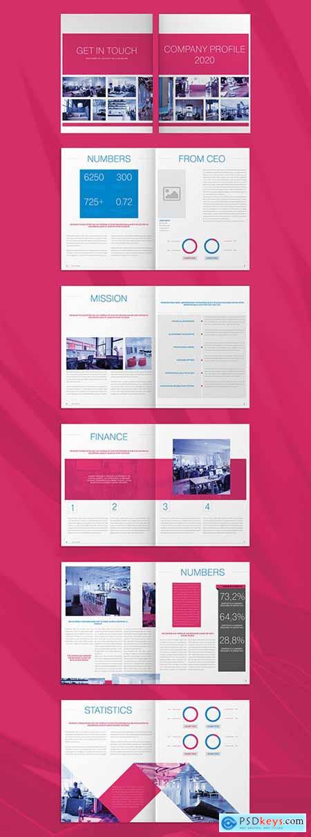 Company Profile Layout with Pink and Blue Accents 271661554