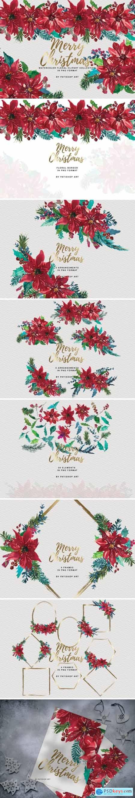 Watercolor Poinsettia Christmas Clipart 1815426