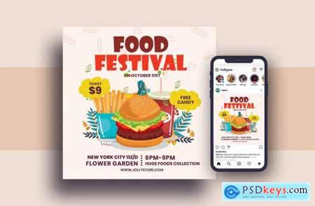 Food Festival Square Flyer & Instagram Post