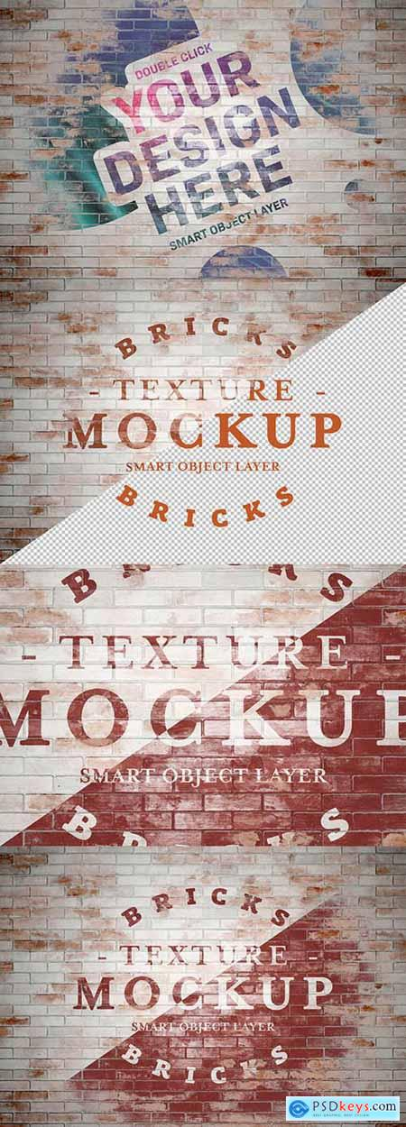 Grunge Washed Brick Texture Mockup 283964082