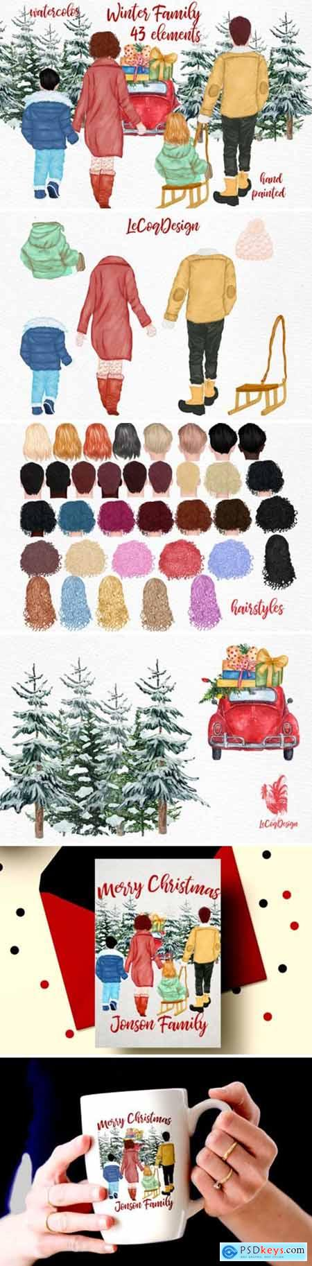 Winter Family Christmas Clipart 1816578
