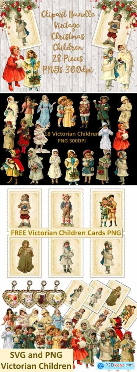 Vintage Christmas Children Clipart Set 1816880