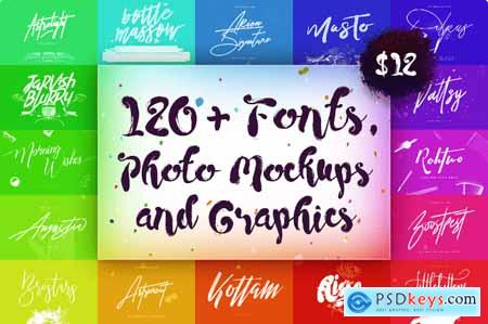 120+ Fonts, Photo Mockups and Graphics