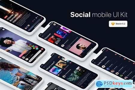 Social Mobile UI Kit for SKETCH, XD & FIGMA