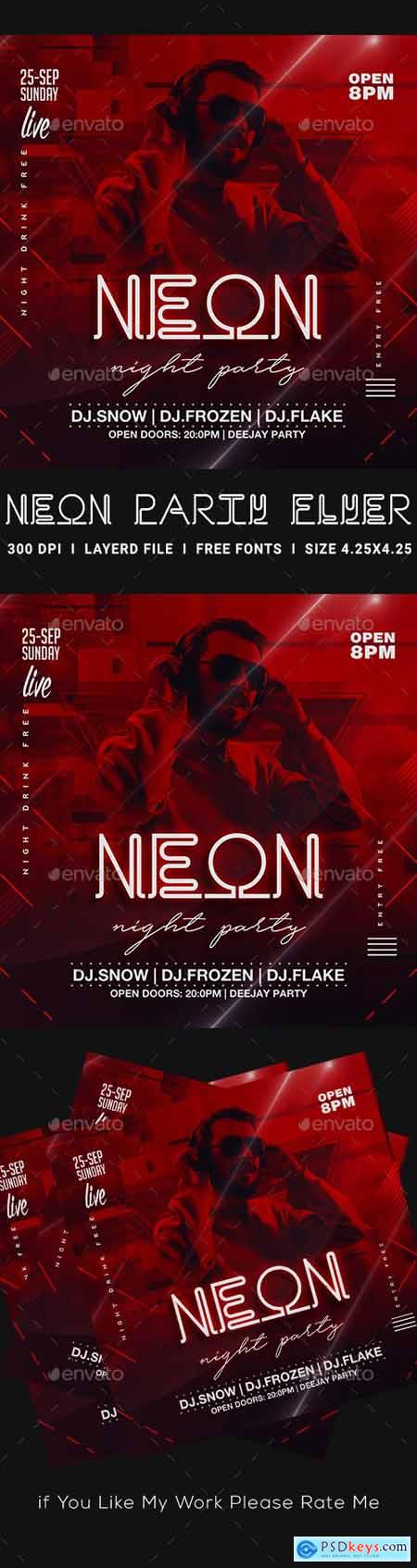 Neon Party Flyer 23452974