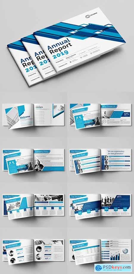 Annual Report Layout with Blue Accents 293224276