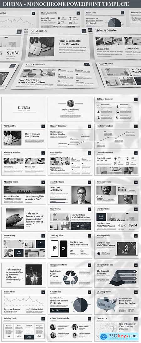 Diurna - Monochrome Powerpoint Template