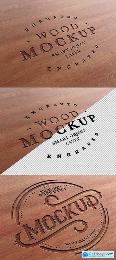 Engraved Wood Text Effect Mockup 281331327