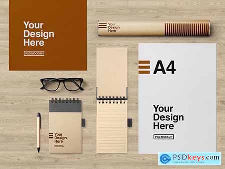 Glasses, Cardboard Tube, and Stationery Set Mockup 283815368