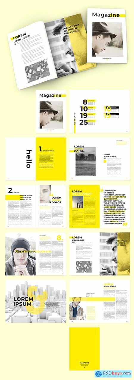 Magazine Layout with Yellow Overlay Elements and Text 292994735