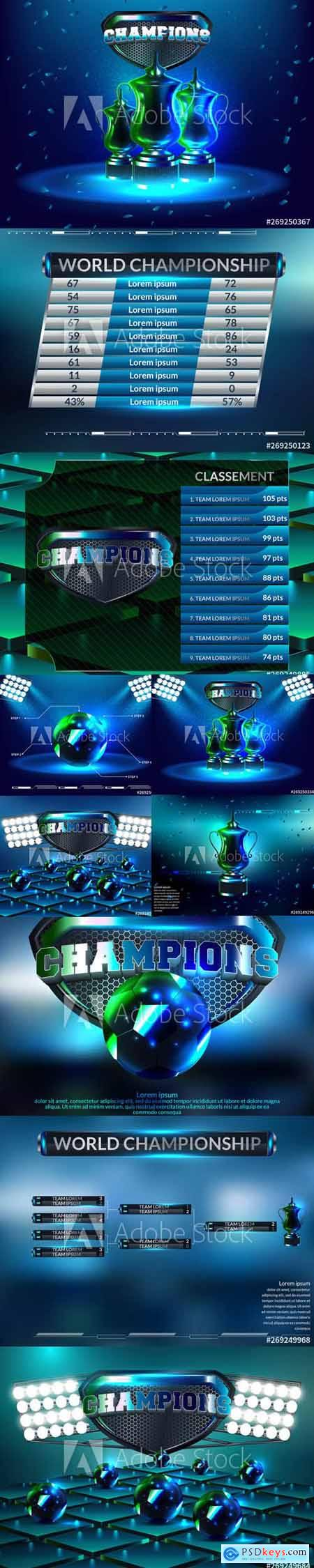 Vector Set - Podium Winners with blue Background