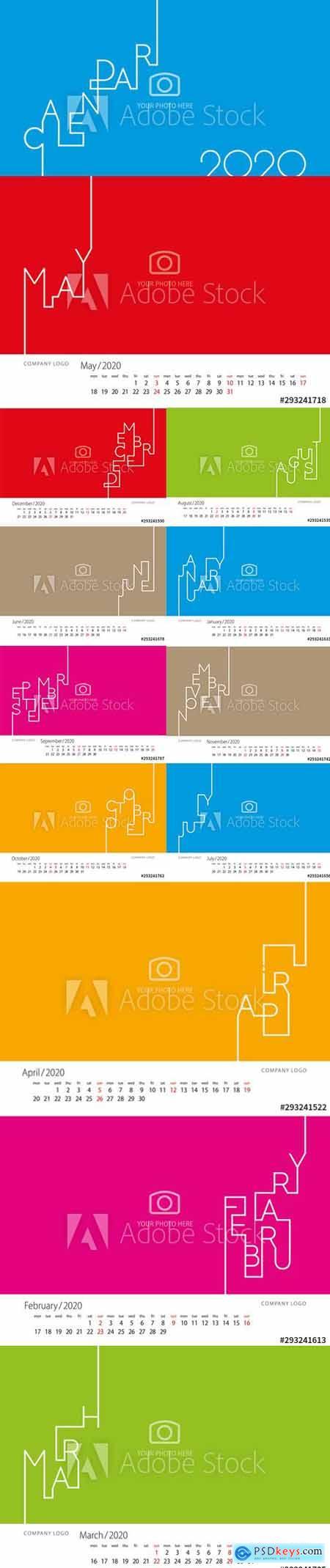 Vector Set - Modern Line Calendar 2020 New Year