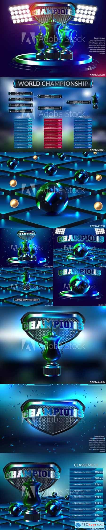Vector Set - Podium Winners with blue Background 2