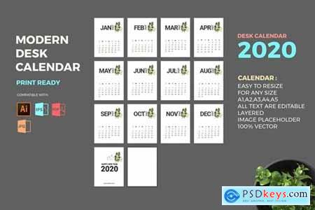 Modern 2020 Desk Calendar Pro