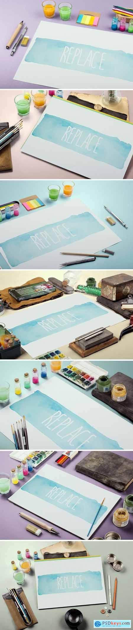 Watercolor Paint Mockup Template Bundle