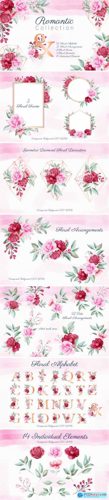 Romantic Watercolor Flowers Collection 1831332
