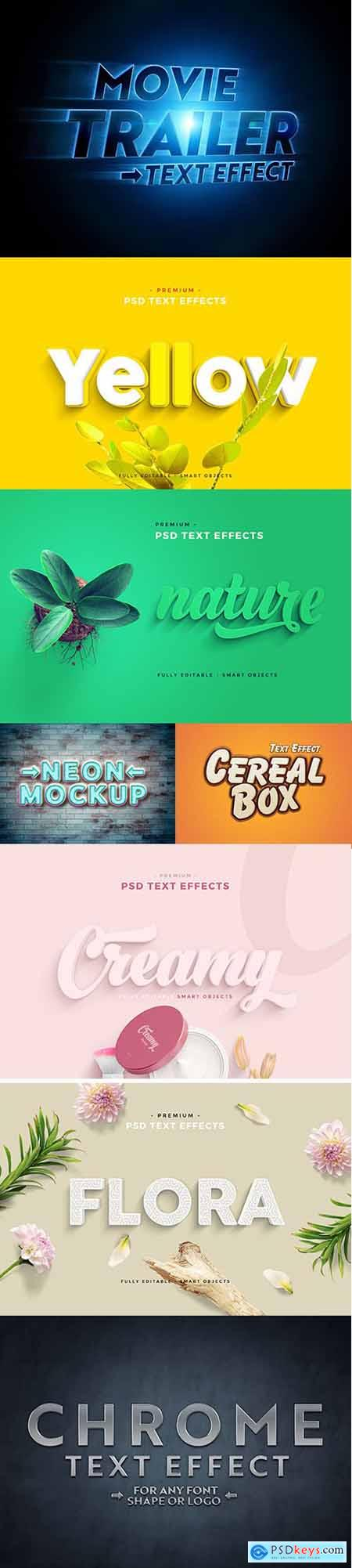 Collection of 8 PSD Text Effect