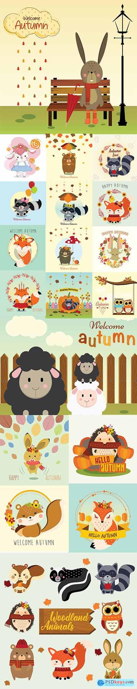 Hello Autumn Vector Illustrations 5