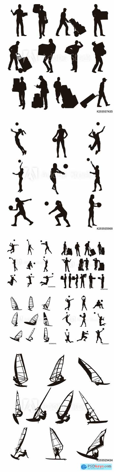 Vector Set - Delivery Man, Volleyball Player and Windsurfing Silhouettes
