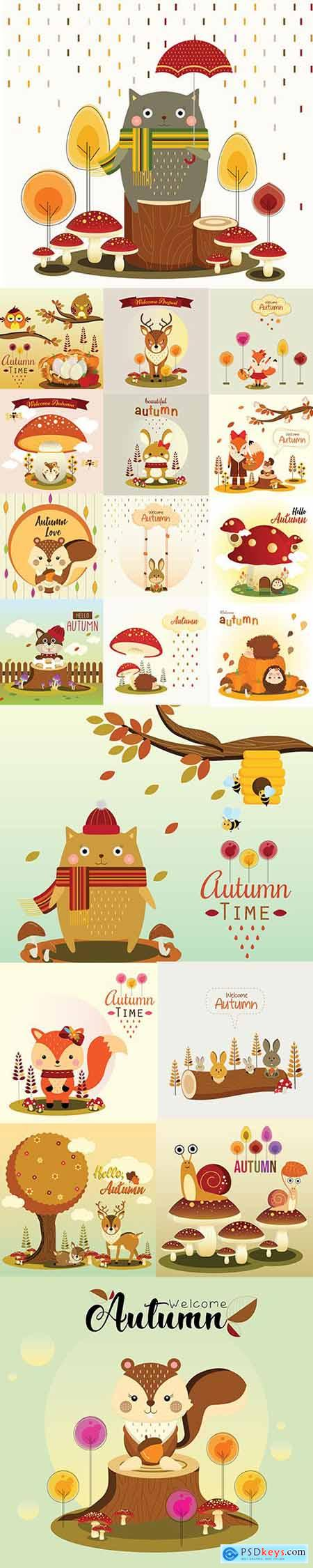 Hello Autumn Vector Illustrations 4