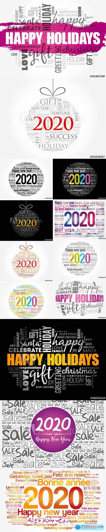 Set of Happy New Year 2020 and Christmas ball word cloud Illustrations