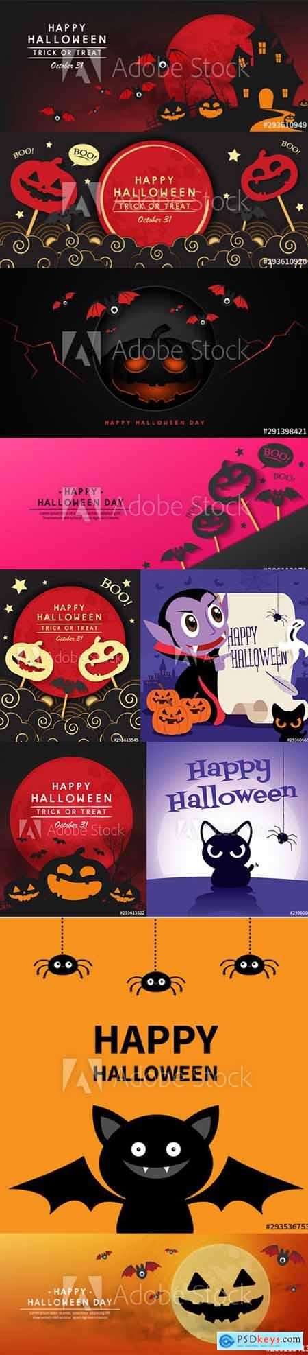 Vector Set - Happy Halloween Illustrations and Cartoon Funny Dracula Banner