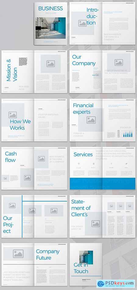 Business Brochure Layout with Blue Accents 293877947