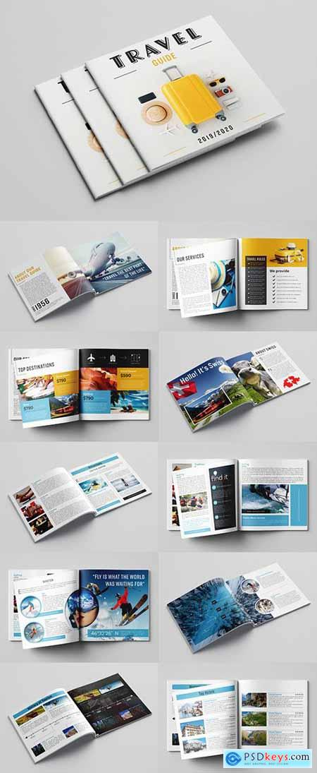 Travel Guide Layout with Blue and Orange Accents 281095661