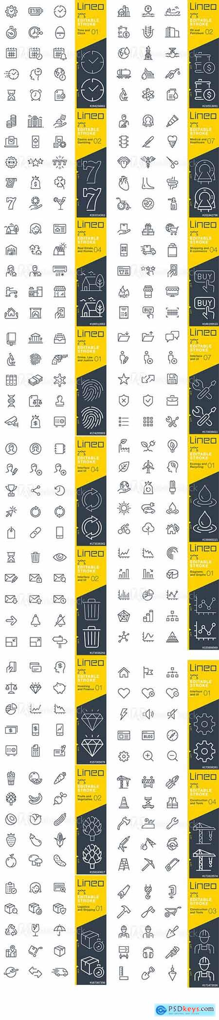 Vector Set - Outline Icons Pack Lineo Vol 8