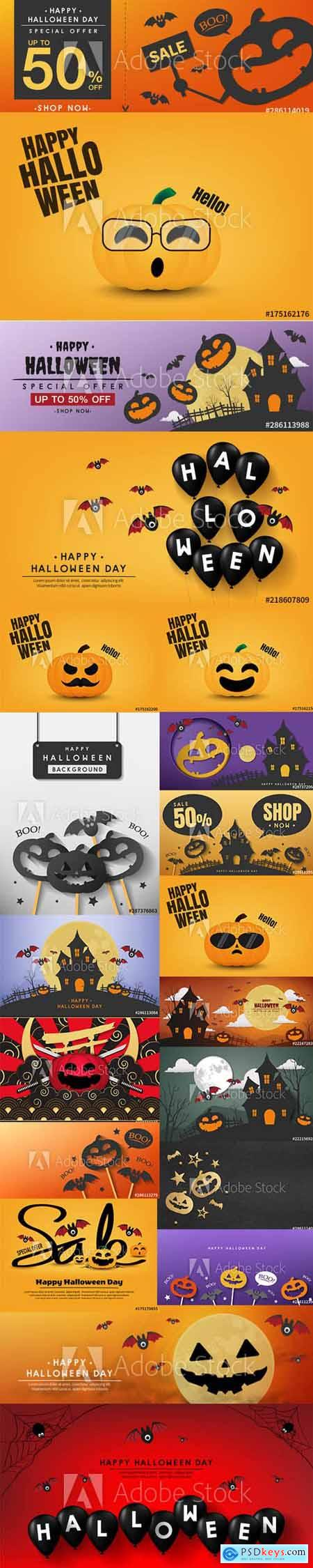 Vector Set of Happy Halloween Illustrations and Sale Poster