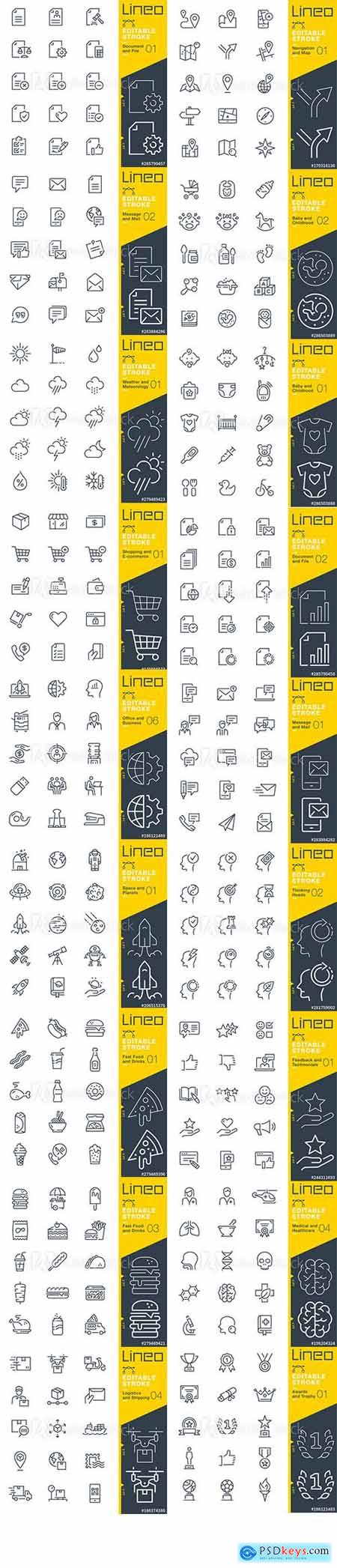 Vector Set - Outline Icons Pack Lineo Vol 6