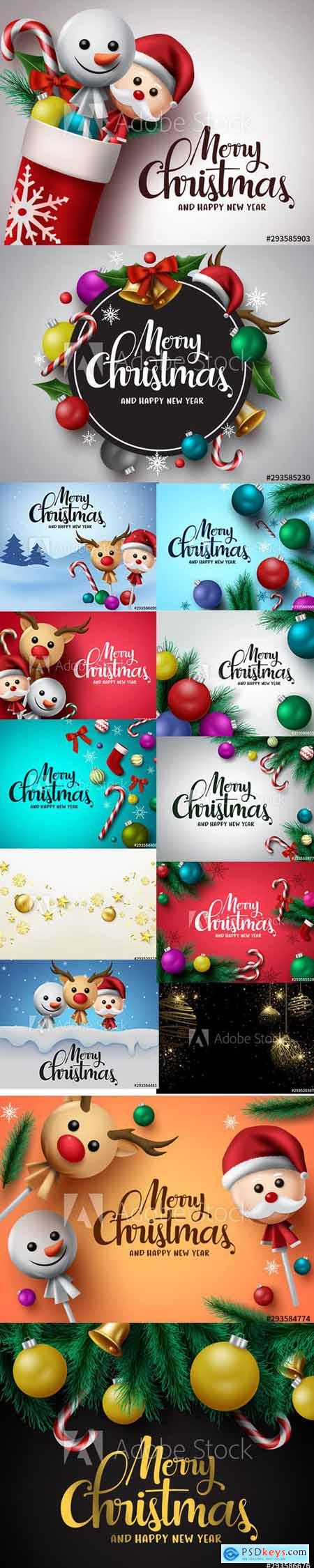 Vector Set - Merry Christmas and Happy New Year Backgrounds Template with Decor