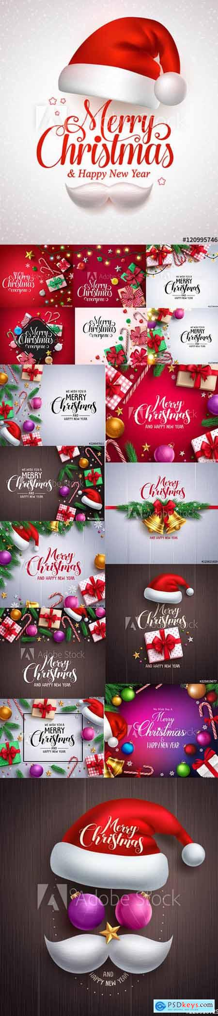 Vector Set - Merry Christmas and Happy New Year Backgrounds Template with Decor vol3